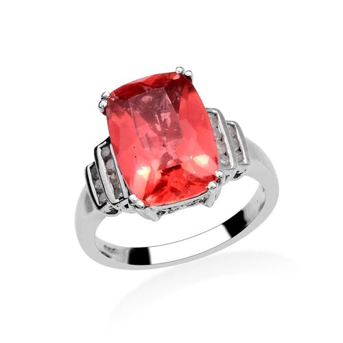 Amits Special Deal - Padparadscha Quartz (Cush 5.50 Ct), Diamond Ring in Platinum Overlay Sterling Silver 5.650 Ct.