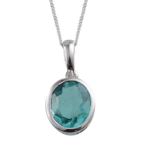 Paraiba Tourmaline Colour Quartz (Ovl) Solitaire Pendant with Chain in Platinum Overlay Sterling Silver 3.750 Ct.