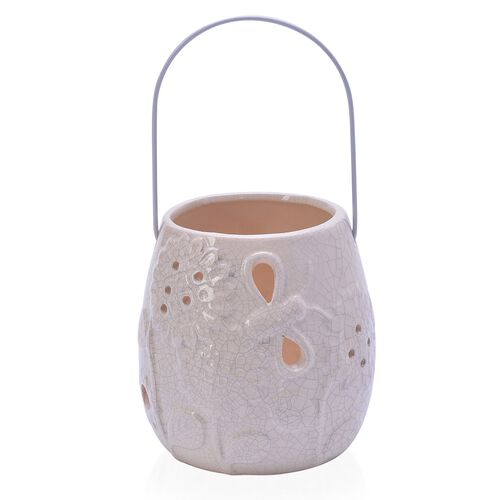 White Colour Sunflower Pattern Ceramic Lantern