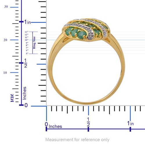 Brazilian Emerald (Rnd), White Zircon Ring in Yellow Gold Overlay Sterling Silver 1.150 Ct.