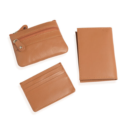 Set of 3 - Genuine Leather Tan Colour Coin Pouch (Size 11x8 Cm), Card Holder (Size 10x7 Cm) and Money Clip (Size 12x8 Cm)