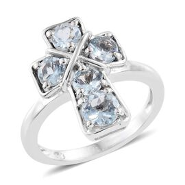 Espirito Santo Aquamarine 1.25 ct. Silver Stacking Cross Ring Platinum Overlay