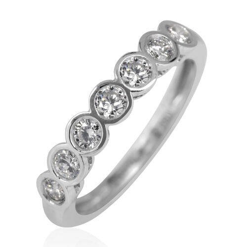 ILIANA 18K W Gold IGI Certified Diamond (Rnd) (SI / G-H) 7 Stone Ring 0.500 Ct.