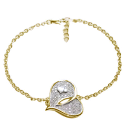 ELANZA AAA Simulated Diamond (Rnd) Heart Bracelet in 14K Gold Overlay Sterling Silver (Size 7.25 with Extender)