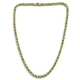 AA Hebei Peridot (Ovl) Necklace (Size 20) in Platinum Overlay Sterling Silver 55.000 Ct.