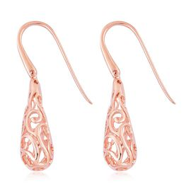 LucyQ Air Drip Hook Earrings in Rose Gold Overlay Sterling Silver 6.59 Gms.