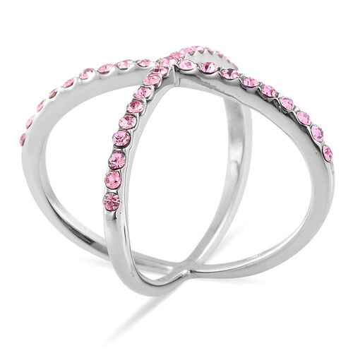 Pink Austrian Crystal Criss Cross Ring in Stainless Steel