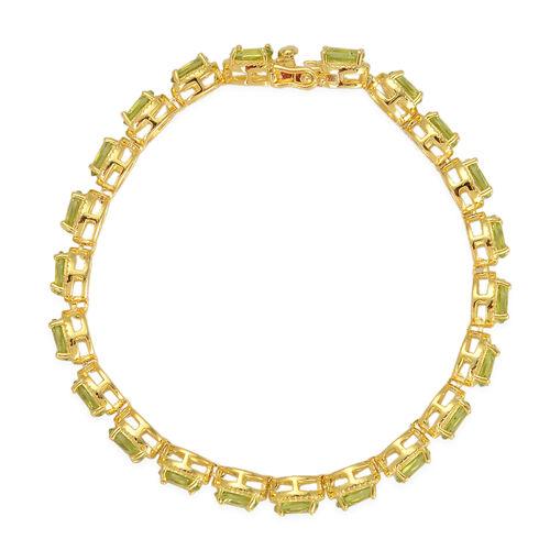 Hebei Peridot (Ovl) Bracelet in Yellow Gold Overlay Sterling Silver (Size 7.5) 11.750 Ct.