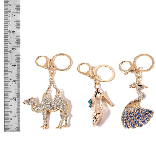Set of 3 - Simulated White Cats Eye, White, Blue and Black Austrian Crystal Peacock, Camel and High Heel Shoe Enameled Key Chain in Gold Tone