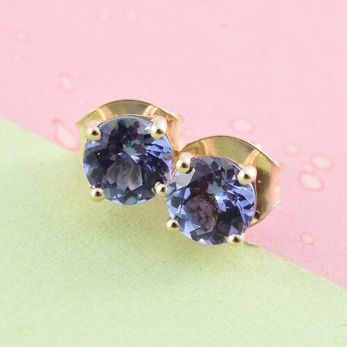 9K Yellow Gold 1 Carat AA Tanzanite Solitaire Stud Earrings