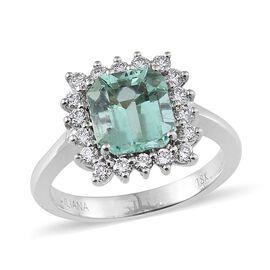 ILIANA 18K W Gold Boyaca Colombian Emerald (Oct 2.80 Ct), Diamond Ring 3.350 Ct.