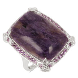 Russian Charoite (Cush 25.50 Ct), Zambian Amethyst Ring in Platinum Overlay Sterling Silver 26.500 Ct.