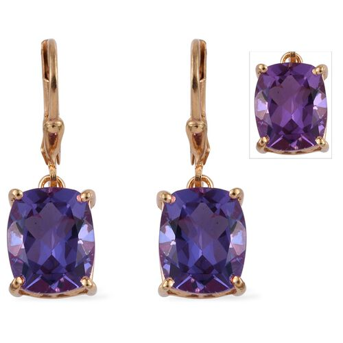 Lavender Alexite (Cush) Lever Back Earrings in 14K Gold Overlay Sterling Silver 7.500 Ct.