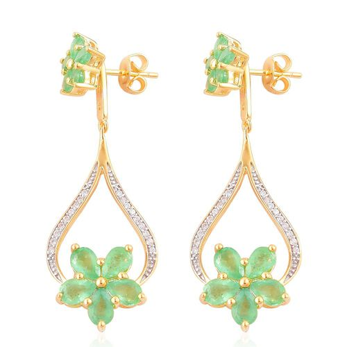 Kagem Zambian Emerald (Pear), White Zircon Earrings (with Push Back) in Yellow Gold Overlay Sterling Silver 5.430 Ct.