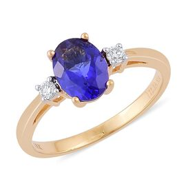 ILIANA 18K Yellow Gold 1.50 Carat AAA Tanzanite Oval, Diamond SI G-H Ring.