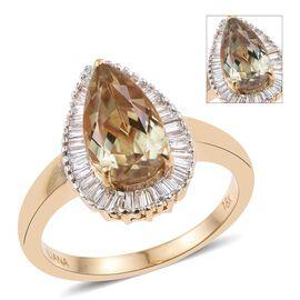 ILIANA 18K Yellow Gold 3.65 Carat Turkizite Pear Halo Ring with Diamond SI G-H.