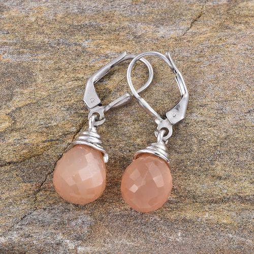 Orange Moonstone Lever Back Earrings in Platinum Overlay Sterling Silver 11.250 Ct.