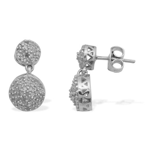 Diamond Platinum Overlay Sterling Silver Earring  0.500  Ct.