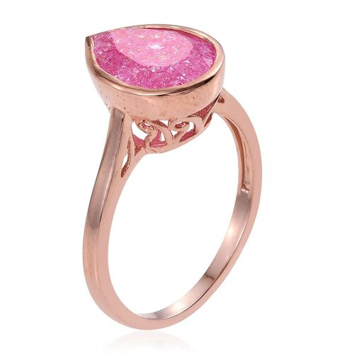 Hot Pink Crackled Quartz (Pear) Solitaire Ring in Rose Gold Overlay Sterling Silver 4.750 Ct.