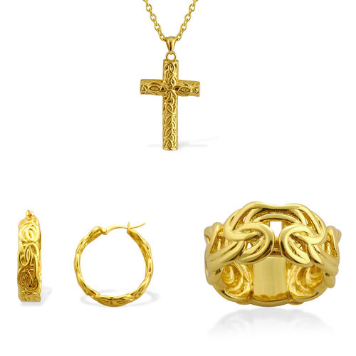 Multi Layer Ring, Hoop Earrings and Cross Pendant With Chain in ION Gold Plated Stainless Steel