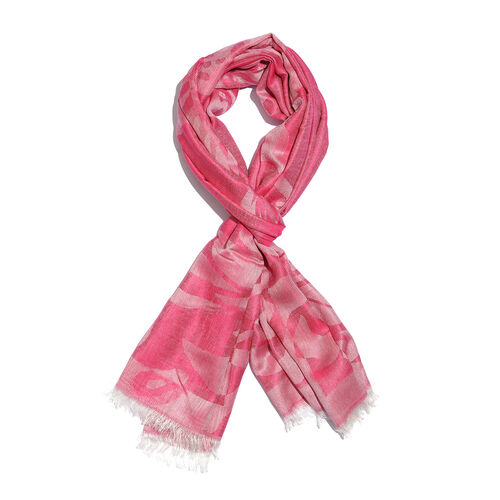 Humming Bird Pattern Magenta Colour Jacquard Scarf with Tassels (Size 180x70 Cm)