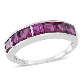 Rhodolite Garnet (Sqr) 7 Stone Half Eternity Band Ring in Sterling Silver 3.000 Ct.