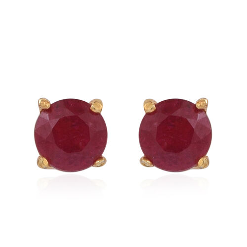 Set of 3 - African Ruby (Trl, Cush and Rnd)  Stud Earrings (with Push Back) in 14K Gold Overlay Sterling Silver 5.000 Ct.