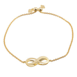 Close Out Deal 14K Gold Overlay Sterling Silver Infinity Charm Adjustable Bracelet (Size 9), Silver wt 3.30 Gms.