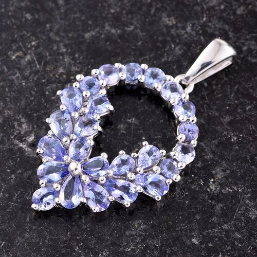 Tanzanite (Pear) Pendant in Platinum Overlay Sterling Silver 4.000 Ct.