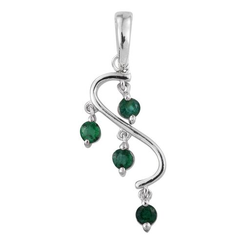 AA Brazilian Emerald (Rnd) Pendant in Platinum Overlay Sterling Silver 0.500 Ct.