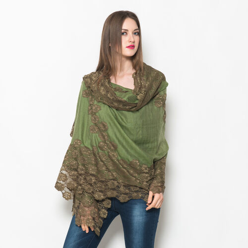Hand Knitted - (50% Mulberry Silk and 50% Merino Wool) Olive Green Colour Scarf with Dark Green Floral Lace Border (Size 170x75 Cm)
