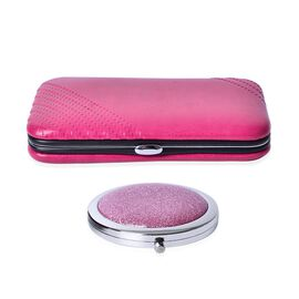 Pink Colour Minicare Kit (6Pcs) and Compact Mirror in Stainless Steel