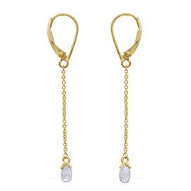 ILIANA 18K Y Gold SGL Certified Rare Shape Diamond (SI/G-H) Dangling Lever Back Earrings 1.000 Ct.