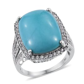 Arizona Sleeping Beauty Turquoise (Cush 15.25 Ct), Natural Cambodian Zircon Ring in Platinum Overlay Sterling Silver 16.500 Ct.