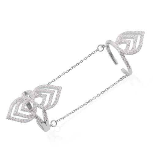 AAA Simulated White Diamond 2 Rings with Chain in Rhodium Plated Sterling Silver