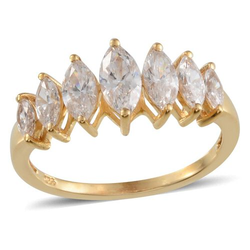 J Francis - 14K Gold Overlay Sterling Silver (Mrq) 7 Stone Ring Made with SWAROVSKI ZIRCONIA 1.970 Ct.