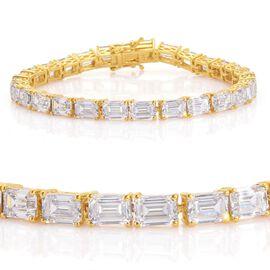 J Francis - 14K Gold Overlay Sterling Silver (Oct) Bracelet Made with SWAROVSKI ZIRCONIA (Size 8) 28.620 Ct.
