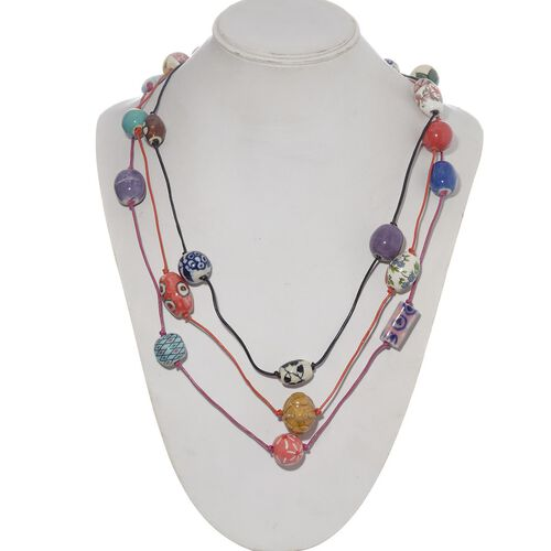 Set of 3 - Jewels of India Multi Colour Fancy Shape Ceramic Beads in Leather Chord Necklace (Size 36)