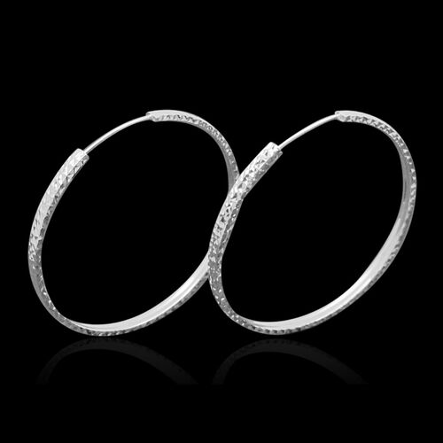 Royal Bali Collection 9K W Gold Hoop Earrings