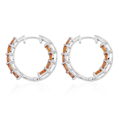 Madagascar Orange Sapphire (Ovl) Hoop Earrings (with Clasp) in Rhodium Plated Sterling Silver 4.000 Ct.