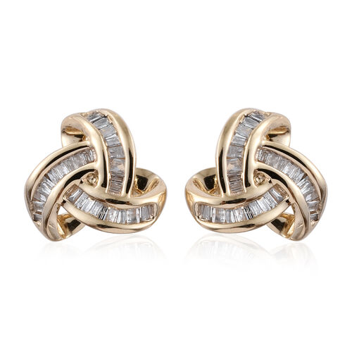 9K Y Gold Diamond (Bgt) Triple Knot Stud Earrings (with Push Back) 0.250 Ct.