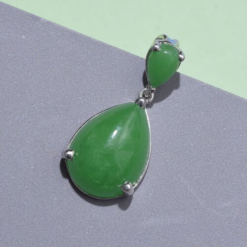 Green Jade (Pear) Pendant in Platinum Overlay Sterling Silver 13.500 Ct.