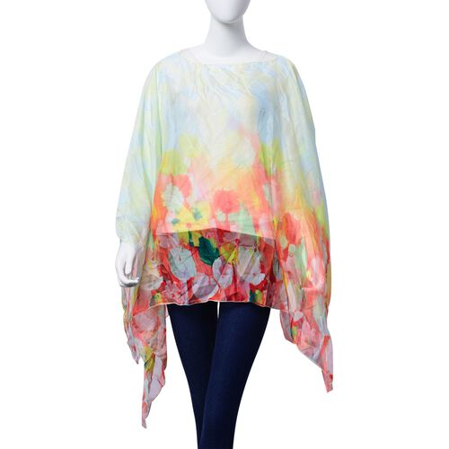 Multi Colour Floral Pattern White Colour Poncho (Size 135x70 Cm)