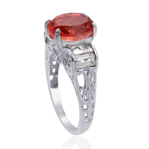 Designer Collection Sunfire Orange Doublet Quartz (Ovl 5.05 Ct), White Topaz Ring in Platinum Overlay Sterling Silver 7.200 Ct.