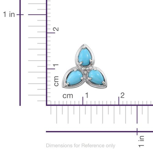 Arizona Sleeping Beauty Turquoise (Pear), Diamond Stud Earrings (with Push Back) in Platinum Overlay Sterling Silver 2.000 Ct.