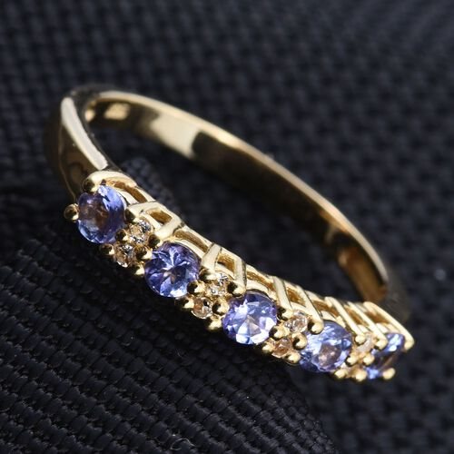 Tanzanite, White Topaz Stacker Ring in 14K Gold Overlay Sterling Silver 0.750 Ct.