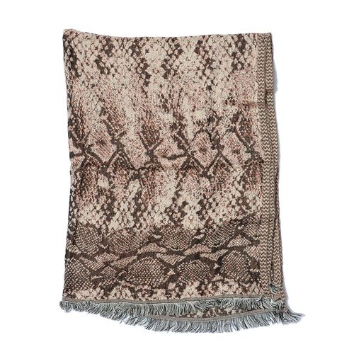 Designer Inspired Snake Skin Pattern Brown Colour Scarf (Size 180x70 Cm)