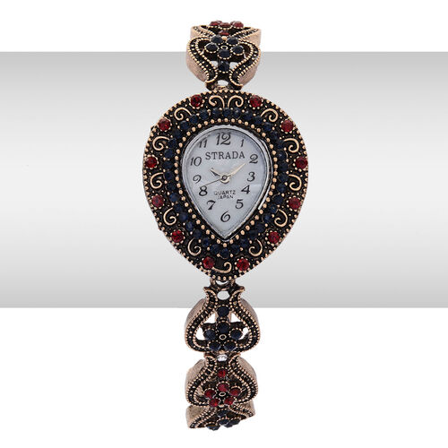 STRADA Japanese Movement MOP Dial Red and Dark Blue Austrian Crystal Watch in Gold and Black Tone