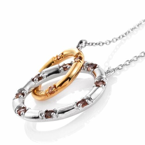 Designer Inspired-Brazilian Andalusite (Rnd) Circle Link Necklace (Size 18) in Platinum and Yellow Gold Overlay Sterling Silver 1.000 Ct. Silver Wt 7.65 Gms