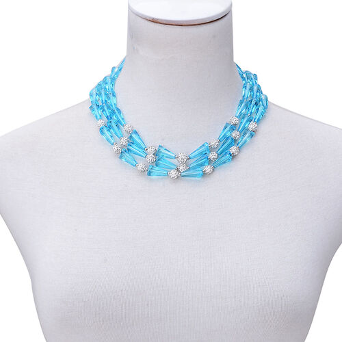 Simulated Sky Blue Topaz and White Austrian Crystal Necklace (Size 18 with 2 inch Extender) in Silver Tone